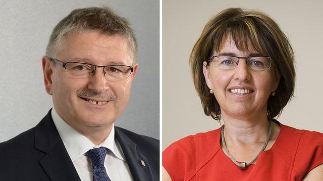 Fotocollage: Charles Juillard (SP) und Elisabeth Baume-Schneider (CVP)