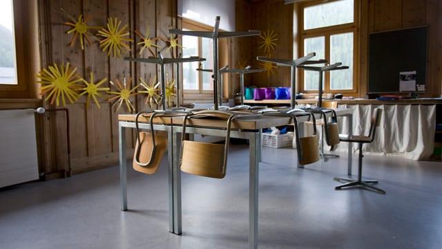 Ein Klassenzimmer mit hochgestellten Stühlen