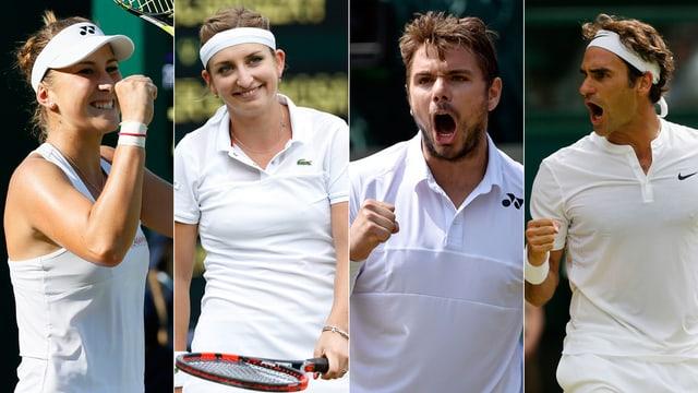 quater giugaders da tennis svizzers, Bencic, Bacsinszky, Wawrinka e Federer