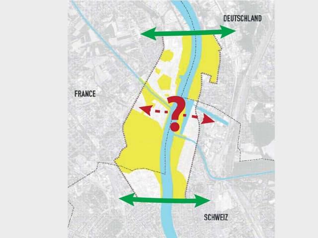 Karte mit einer Visualisierung der geplanten Brücke