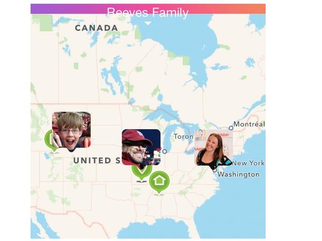Karte mit Aufenthaltsort eines Familienmitgliedes