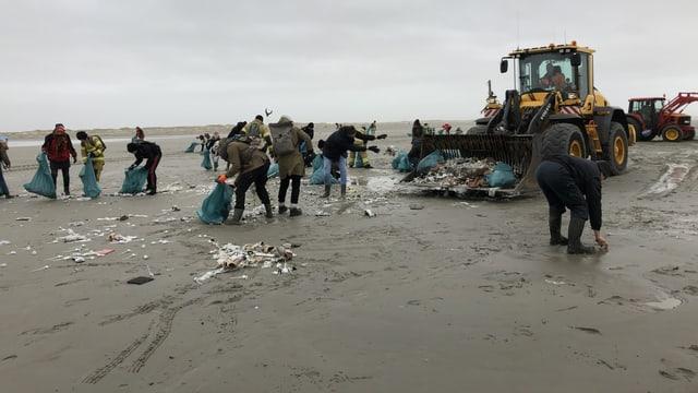 Zahlreiche Menschen und ein Bagger sammeln Müll am Strand der Watteninsel Schiermonnikoog.