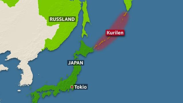 Karte der Kurilen