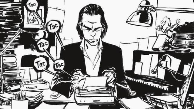 Comic: Nick Cave arbeitet in einem vollgestopften Büro an einer Schreibmaschine.