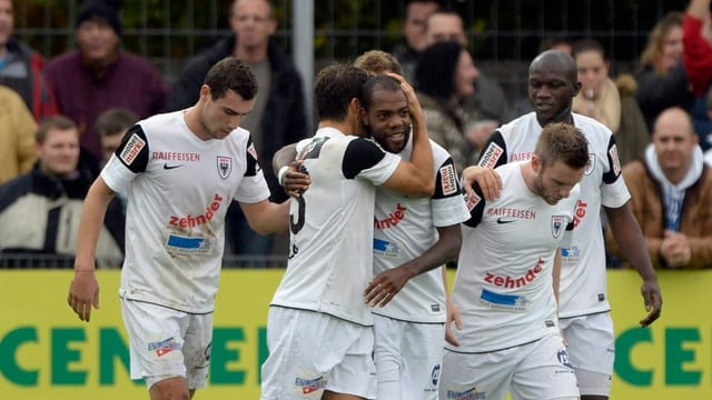 Die Aarau-Spieler feiern den Führungstreffer gegen den FCZ.
