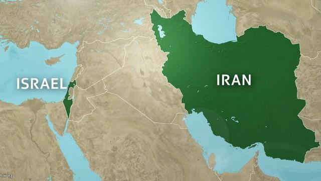 Karte zeigt - hervorgehoben - Iran und Israel