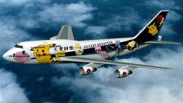 Ein  B747-Jumbo-Jet der All Nippon Airways mit Pokémon Bemalung.
