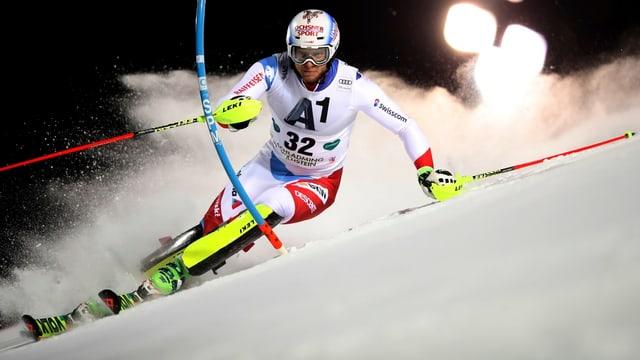 Marc Gini durant il slalom a Schladming en Austria.