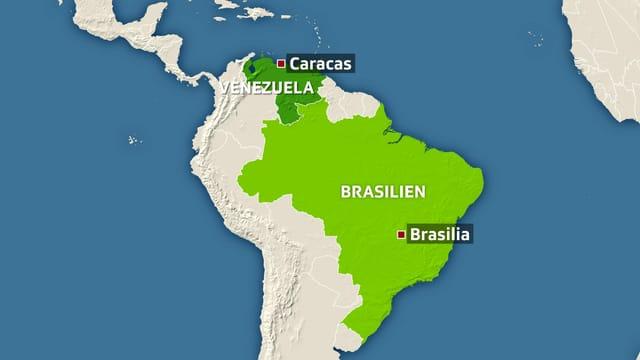Karte Südamerikas – mit Brasilien und Venezuela