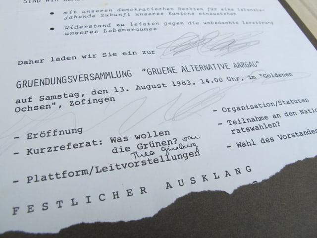 Einladungsschreiben von 1983 zur Gründungsversammlung der Grünen.