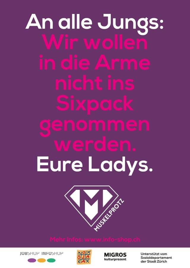 Postkarte der «Muskelprotz»-Kampagne