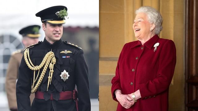 Prinz William in Uniform lächelt. Rechts in einem anderen Bild eine lachende Queen in einem roten Kostüm.