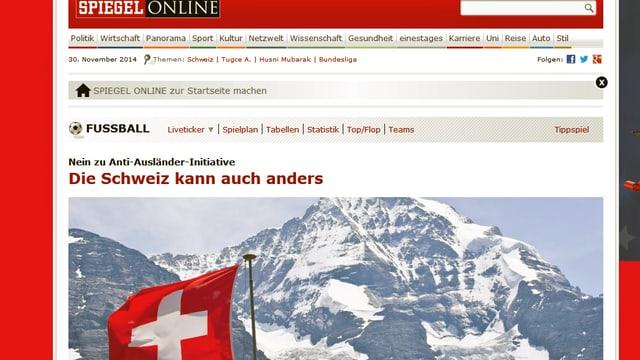Ausschnitt des Spiegel-Online-Portals zeigt Schneeberge mit Schweizer-Flagge