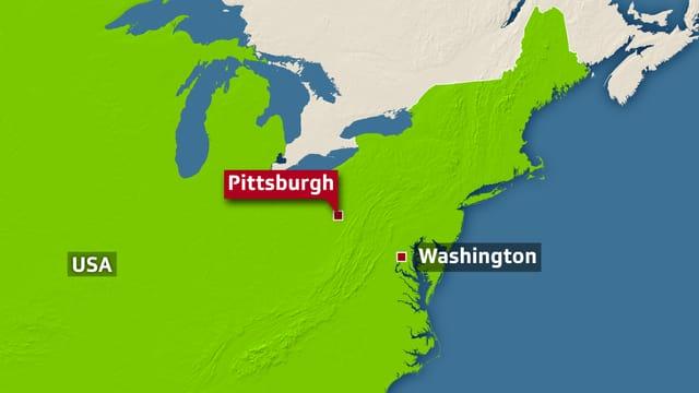 Karte mit der Lage von Pittsburgh.