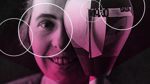 Sophie Taeuber-Arp hält eine Art Oval. Das Bild ist pink eingefärbt.