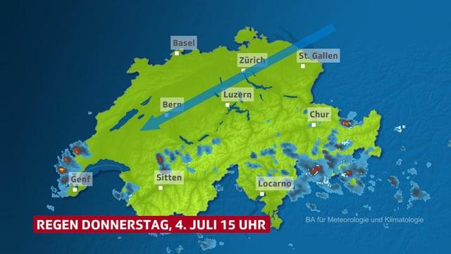 Niederschlagsradar und Bise-Pfeil.