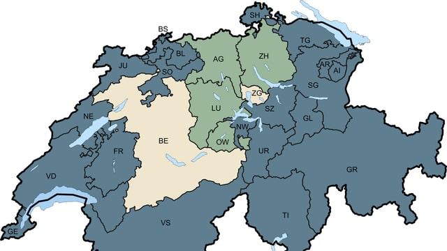 Schweizer Karte für Zuständigkeit Aufsicht Kindertagesstätten.
