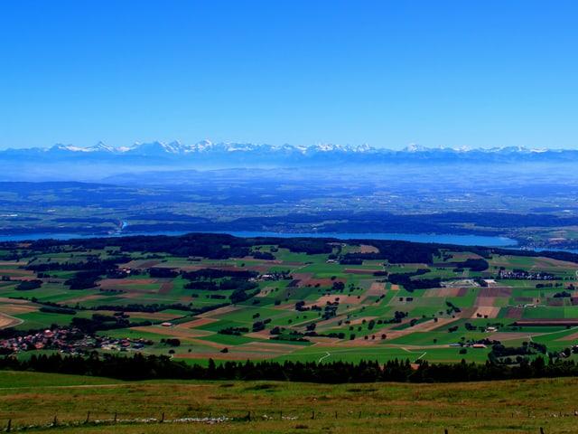 Blick über das Mittelland bis zu den Alpen.