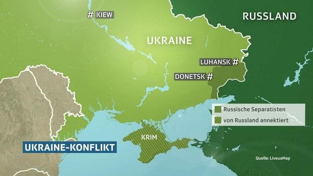 Karte des Ukraine-Konflikts.