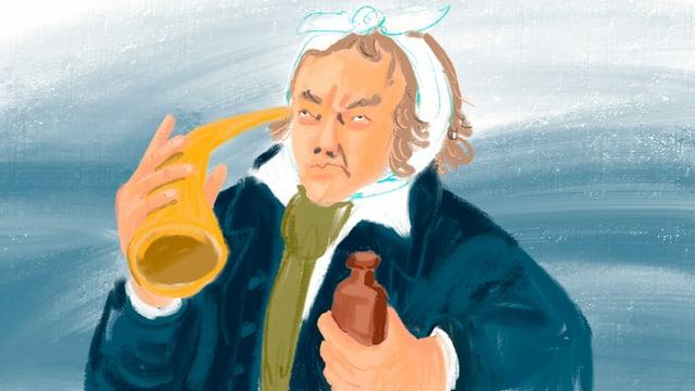 Illustration: wütend aussehender Mann mit Verband um den Kopf, einem Hörrohr und einer Medizinflasche