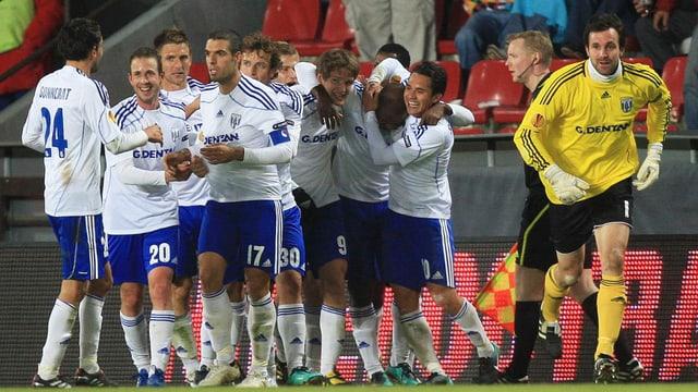 Jubel bei Lausannes Spielern gegen Sparta Prag (Archivfoto aus dem Jahr 2010)