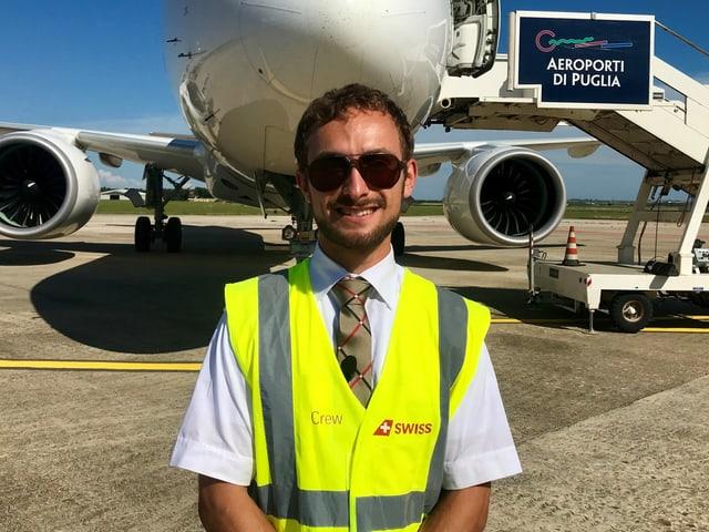 Christopher Schilly beim Landetraining in Italien