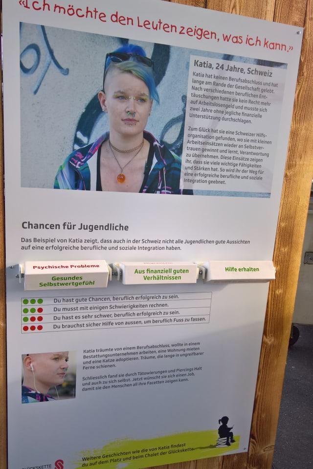 Ein Plakat über eine Schweizer Jugendliche, welches interaktiv ist.