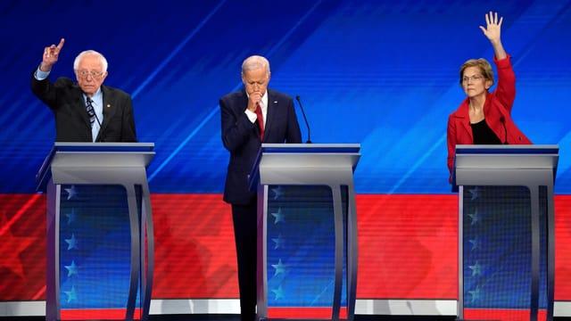 Sanders, Biden, Warren (von links)