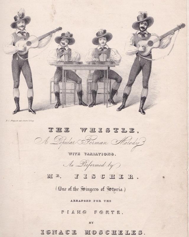 Altes, gezeichnetes Plakat mit vier Musikern mit Gitarren und Zithern.