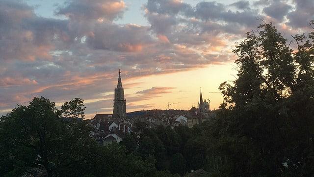 Die Berner Altstadt im Sonnenuntergang.