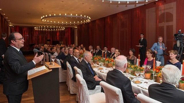 Francois Hollande hält Rede beim Galadiner