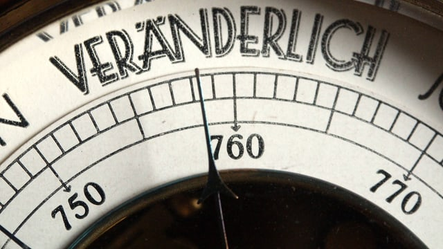 Barometer, dessen Zeiger auf «Veränderlich» steht