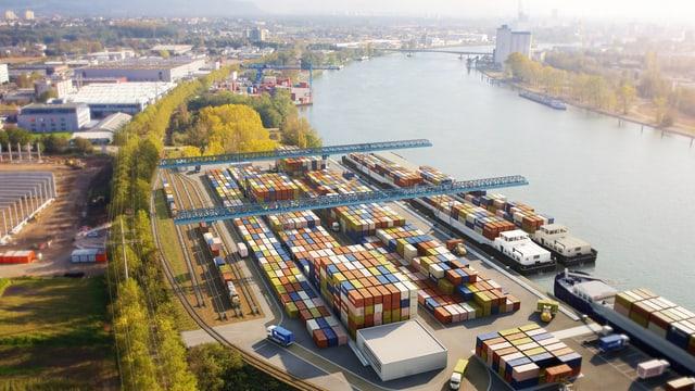 Blick von Norden auf Basel mit einem Modell des neuen Hafens
