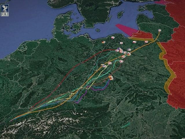 Auf einer Karte sind die Flugwege der Gasballon, vom Wettbewerb 2017, eingetragen.
