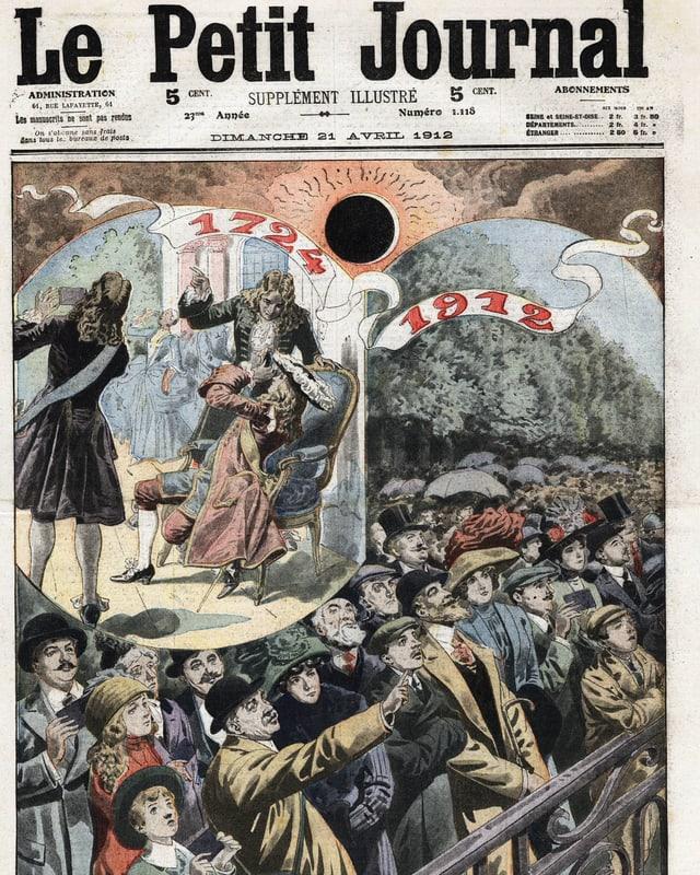 Das Cover einer Zeitschrift zeigt die Ilustration einer Menschenmenge, die eine Sonnenfinsternis betrachtet.