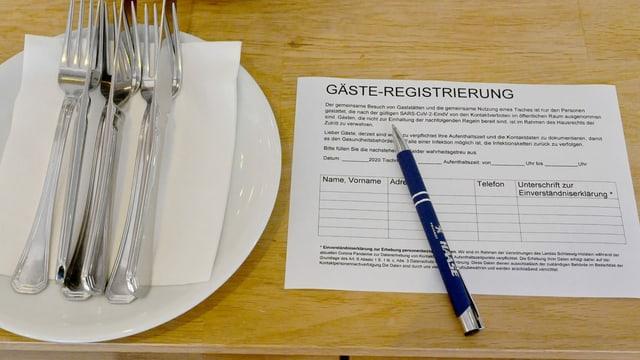Registrierung in Restaurant.