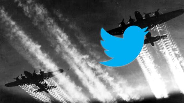 Der blaue Vogel von Twitter auf einem schwarz-weiss Bild aus dem Zweiten Weltkrieg. Es zeigt einen Flugangriff.