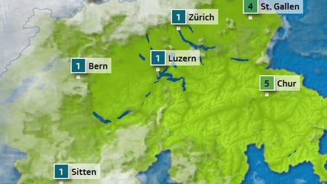 Meteo-Karte, Prognose für Freitagmorgen.