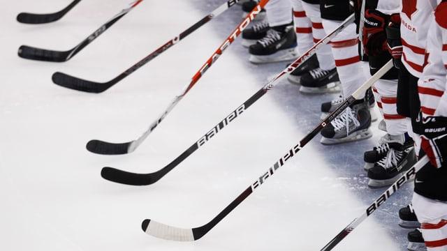 Eine Eishockeymannschaft steht geschlossen auf der blauen Linie.
