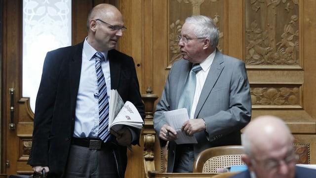 Heer und Blocher im Nationalratssaal.