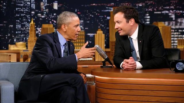 Obama und Fallon im Set der Tonight Show