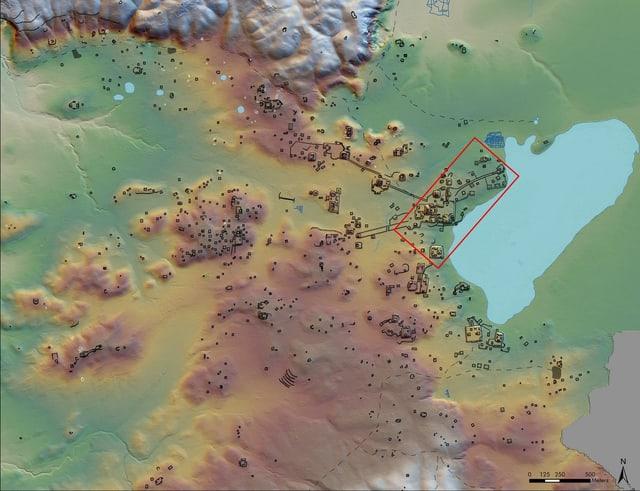 Eine Karte von den Maya-Städten.