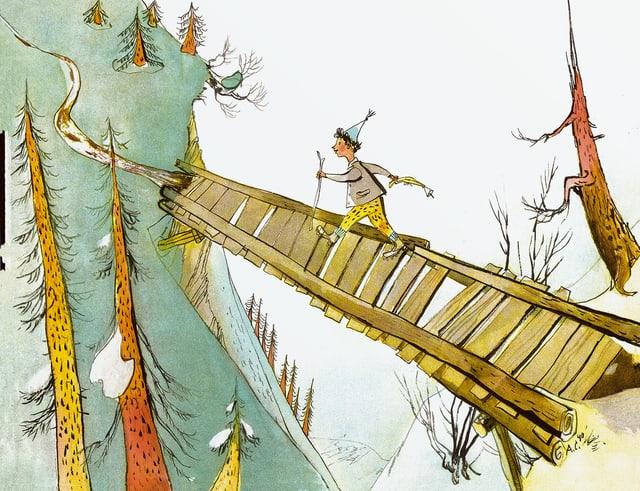 Schellen-Ursli geht über eine Brücke.