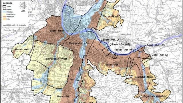 Karte mit Zonen