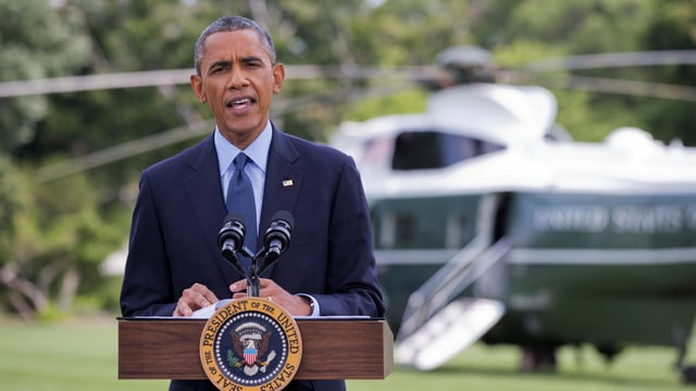 US-Präsident Barack Obama spricht hinter einem Rednerpult zu den Medien.
