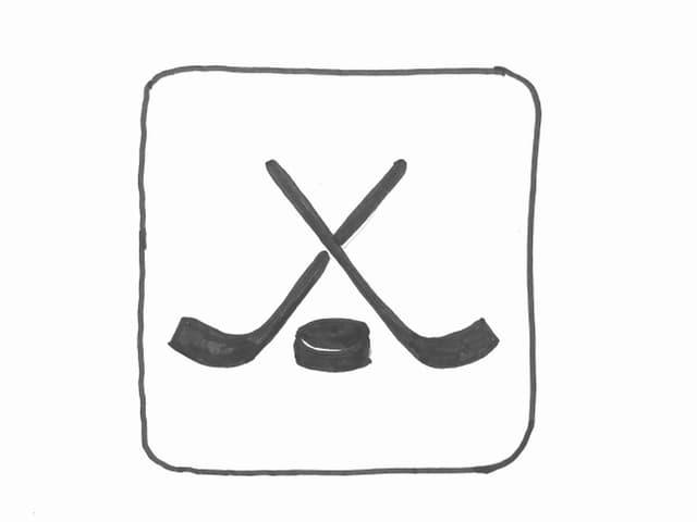 Grafik mit zwei gekreuzten Eishockeyschlägern über einem Puck.