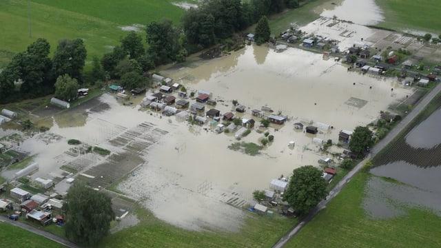 Überschwemmte Schrebergärten im Balgacher Riet (SG) am 2. Juni 2013.