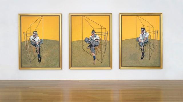 Die drei Gemälde von Francis Bacon ausgestellt im Auktionshaus. Es zeigt den sitzenden Freud vor gelbem Hintergrund aus drei unterschiedlichen Perspektiven.