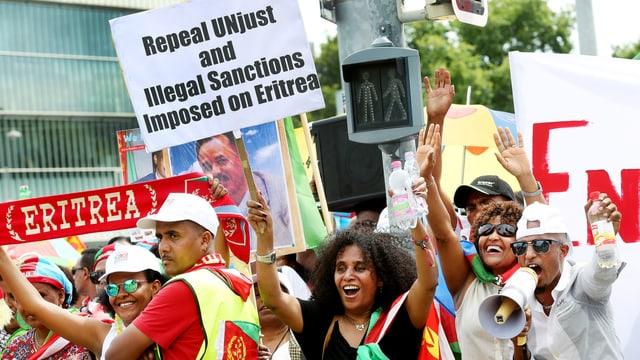 Demonstration für die eritreeische Regierung in Genf