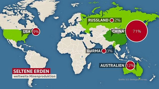 Eine Weltkarte. Die Länder, die seltene Erden produzieren, sind grün markiert.